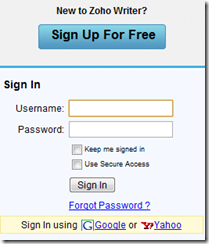 Login using Google or Yahoo ID.