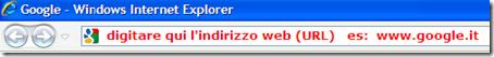 dove inserire url  barra indirizzi internet explorer