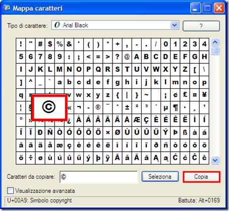come mettere simbolo copyright testo windows