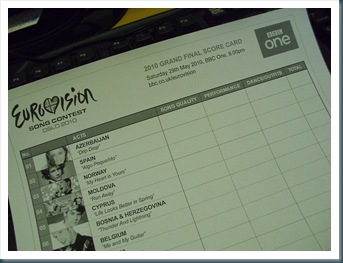 Eurovision Song Contest Score Card