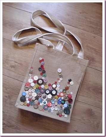 Bag decorated with buttons