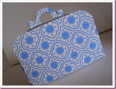 Blue patterned sizzix suitcase