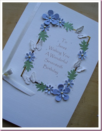 70th Birthday Card using Punched flowers and Butterflies