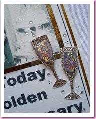 Golden Wedding Anniversary card Glasses
