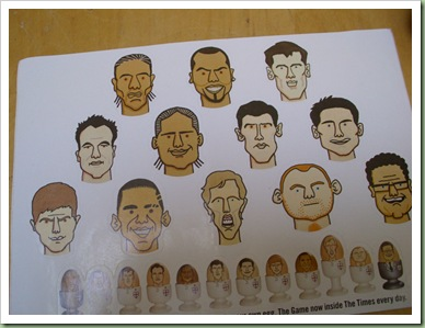 England World Cup Squad egg stickers