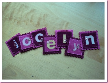 Felt scalloped squares with name
