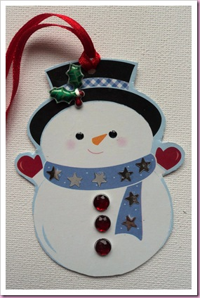 Snowman Tag using shaped playing crad