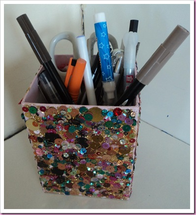 Pencil Pot using Poundland Sequins