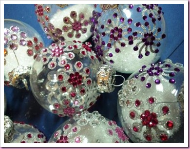 Decorated Clear Glass Chrismas Baubles