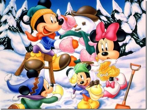 Mickey & Friends in snow