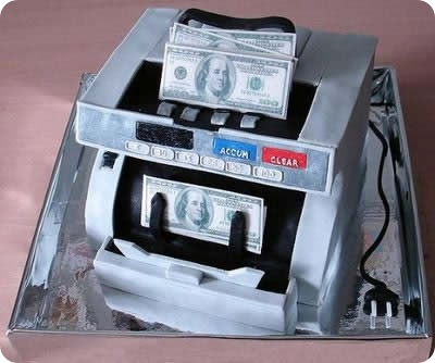 Money counting Machine Cake Art
