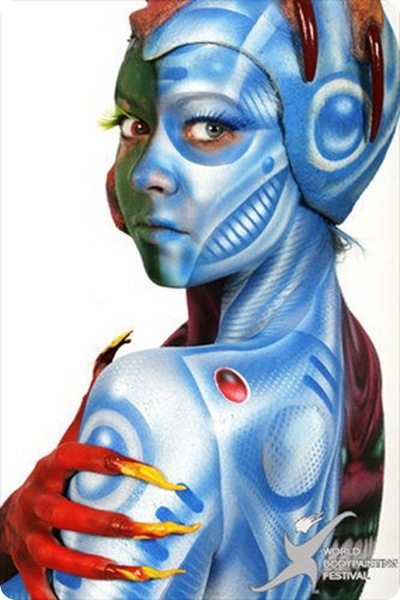 Blue body painting