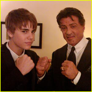 When Justin Bieber met Sylvester Stallone