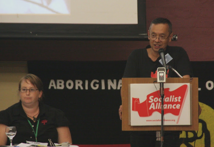 Peter Boyle addreses opening rally of 7th national conference of the Socialist Alliance