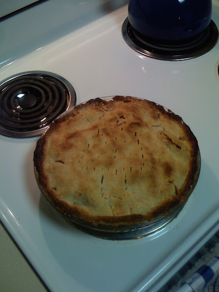 Baked apple pie cooling on the stove