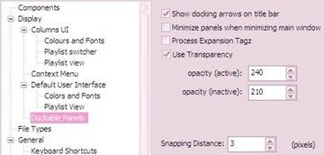 foobar2000_Dock Panel Settings