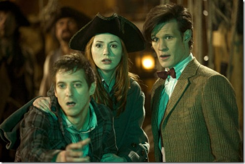 Rory, Amy and the Doctor on board a pirate ship