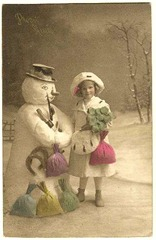girl with snowman--creating myself