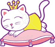 13053-Spoiled-White-Princess-Cat-Sleeping-On-A-Pillow-Clipart-Graphic-Illustration