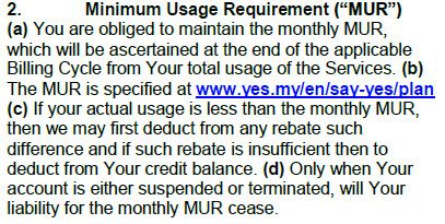 Yes4G Minimum Usage Requirement
