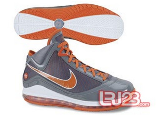 New Air Max LeBron VII Grey Patent CWs 8211 Blue Red and Orange