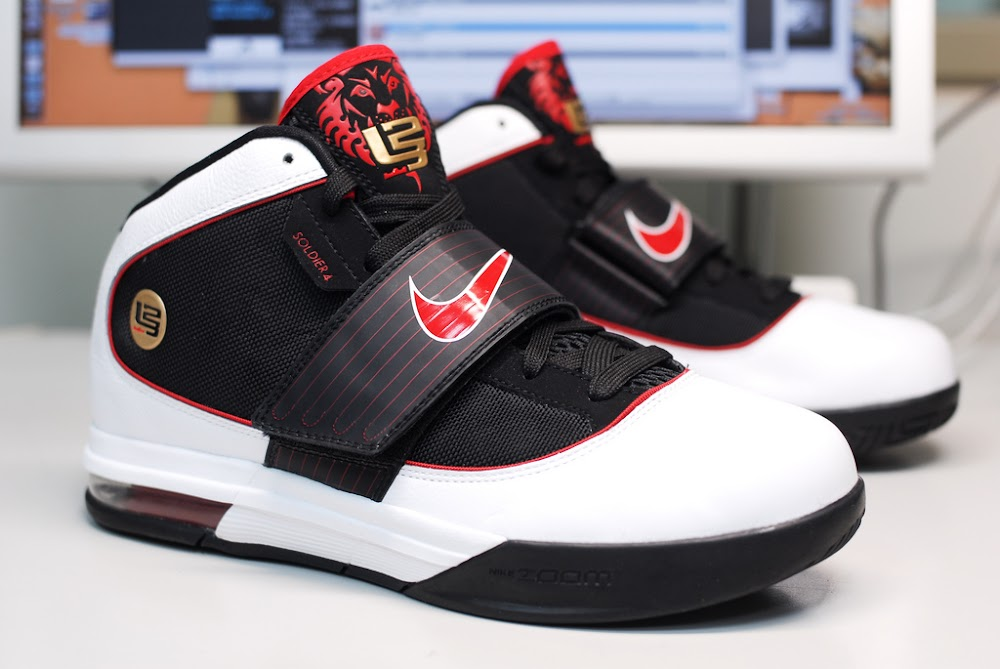 Nike Zoom LeBron Soldier IV 8211 BlackWhiteRed 8211 Actual Photos ... f42bbd7f25