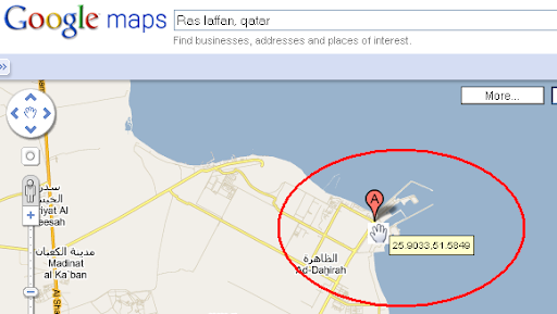 google maps qatar. You will get the latitude and longitude immediately from the Google Map.