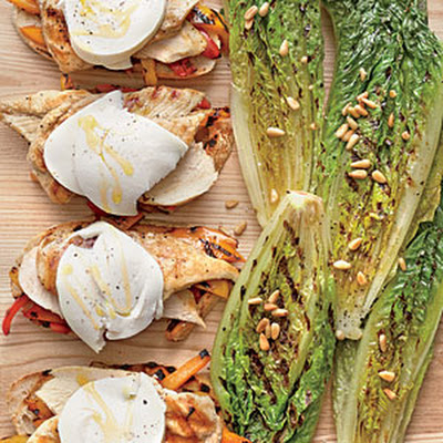 Open-face Grilled Chicken-and-Pepper Sandwiches with Grilled Romaine Wedges