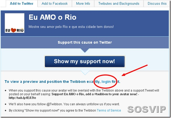 Eu AMO o Rio - Support now  - Twibbon