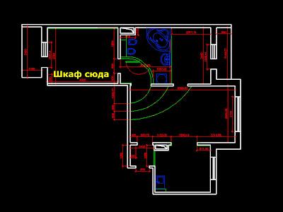 План квартиры и место, куда нужно сделать шкаф-купе