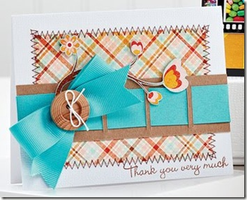 C38 Blue Bow Thank You Card by Heidi Van Laar