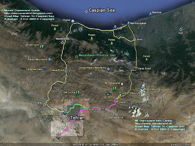 Road Map Tehran To Damavand and Caspian Sea