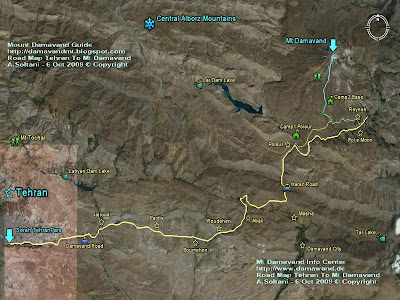 Road Map Tehran To Mt Damavand