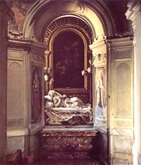 Detalhe arquitetônico da obra A Beata Ludovica Albertoni (1671-1674) de Gianlorenzo Bernini. San Francesco a Ripa, Roma