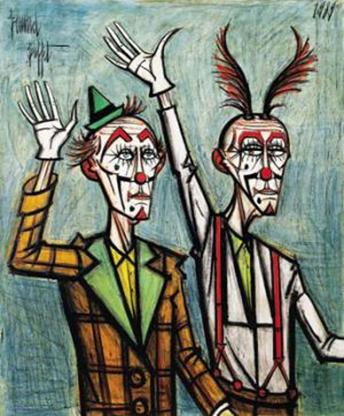 """Two Clowns With Their Arms Raised"", de Bernard Buffet"
