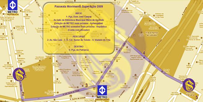Mapa com trajeto da passeata. Clique para ampliar