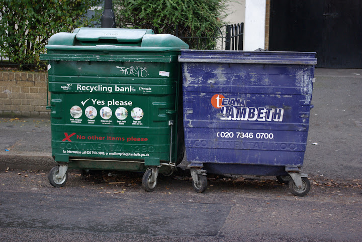 Photo of Lambeth rubbish and recycling bins in Vassall Ward