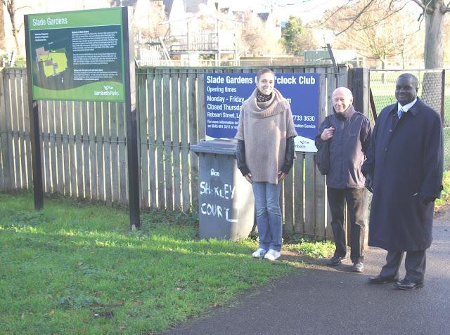 Labour Vassall Action Team on a walk around in Slade Gardens, Vassall Ward, SW9