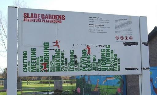 Slade Gardens sign in Vassall Ward, SW9