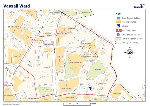 Map of Vassall Ward Lambeth