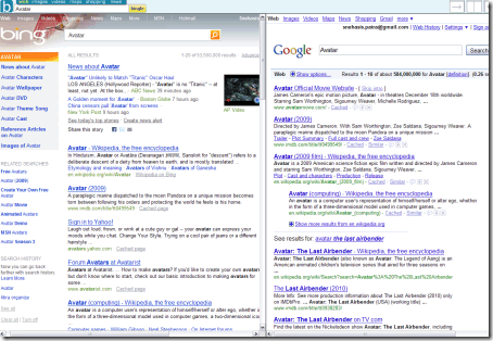 Bingle - Bing and Google Side by Side