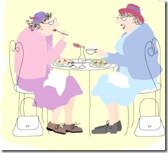 two old ladies having lunch