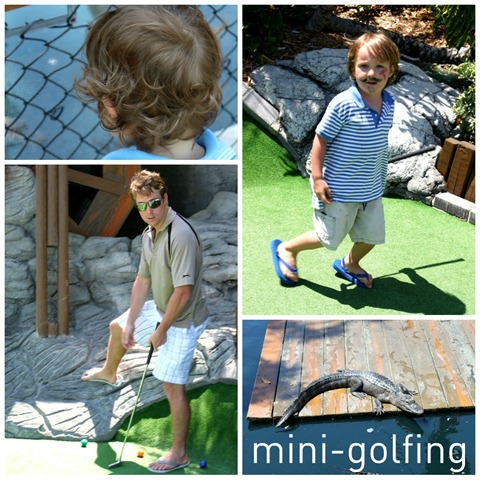 mini golfing collage