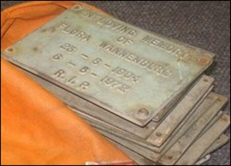 Cemetery Memorial Plaques recovered at scrapmetal delaer East London