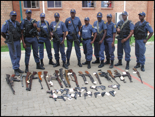Disarming the SA population  - weapons recovered from Ikageng tavern patrons Jan282010