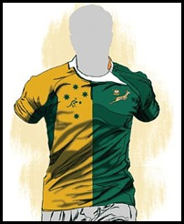 Springbok over the heart Wallaby on the other side rugby jersey Bertus de Villiers SA expat Perth...