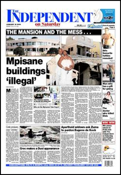 Sergeant Mpisane buildings are illegal writes The Independent on Saturday Jan 23 2010