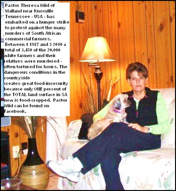 Pastor Theresa Wiid Walland Tennessee Hunger Strike against SA farm murders March2010 (2)
