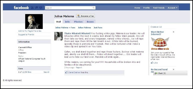 Facebook Julius Malema hatespeech against Afrikaners