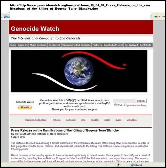 Genocide Watch ANC incitement to Shoot and Kill Afrikaner Minority increased racial tensions (2)
